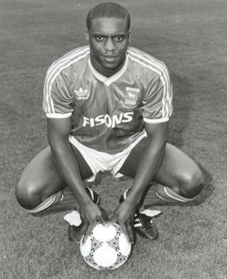 Dalian Atkinson in his Ipswich Town kit
