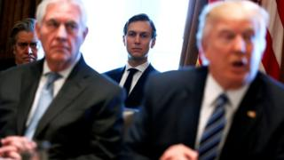 White House advisors Steve Bannon (L) and Jared Kushner (C) attend as U.S. President Donald Trump (R), flanked by Secretary of State Rex Tillerson (2nd L) holds a cabinet meeting at the White House in Washington, U.S. March 13, 2017.