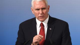 US Vice President Michael Richard Pence delivers a speech on the 2nd day of the 53rd Munich Security Conference (MCS) in Munich, southern Germany, on February 18, 2017.