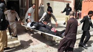 Injured lawyer after Quetta blast