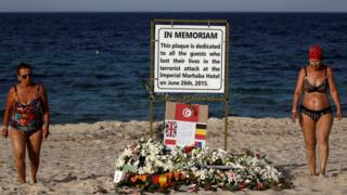 Plaque dedicated to victims on beach in Tunisia