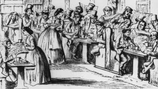 Shipowners and traders meet in shipping agency Lloyd's of London's coffeehouse in 1863