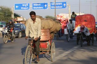 A busy road in Delhi