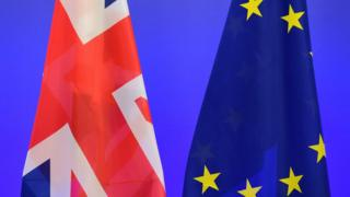 A British Union Jack flag and a European Union flags