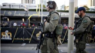 FBI officers patrol downtown San Francisco before NFL Super Bowl 50 in San Francisco, California, United States, on 4 February 2016