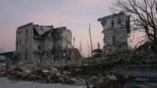 Crumbled buildings in East Aleppo