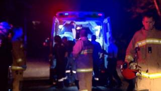 Emergency crews at the scene in Wollongong, south of Sydney
