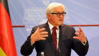 German Foreign Minister Frank-Walter Steinmeier speaks at a news conference after meeting with host Albanian counterpart Ditmir Bushati in the Albanian capital, Tirana, Tuesday, June 14, 2016.