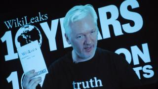 WikiLeaks founder Julian Assange addresses journalists in Berlin via video link on 4 October 2016