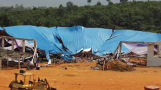 A general view of the site of a church roof collapse at Reigners Bible Church in Uyo, Nigeria, 11 December 2016.