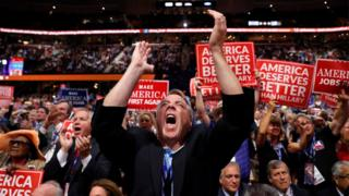 New York delegate David DiPietro reacts during the third day session of the Republican National Convention in Cleveland, Wednesday, July 20, 2016. (AP Photo/Carolyn Kaster)