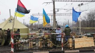 Ukrainian war veterans and activists block rail lines in Kryvyi Torets, eastern Ukraine. Photo: 23 February 2017