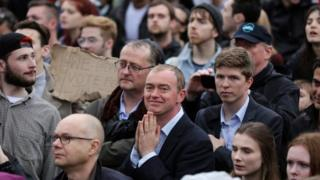 Tim Farron at a rally demonstrating against the vote to leave the EU