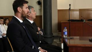 Lionel Messi of FC Barcelona and his father Jorge Horacio Messi in court on 2 June 2016 in Barcelona, Spain