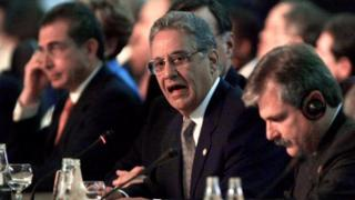 Fernando Henrique Cardoso during Latin America and EU summit in Rio in 1999