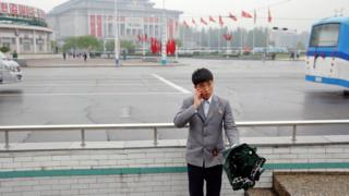 A man on the street in Pyongyang, North Korea, on 6 May, 2016