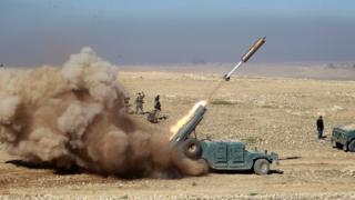 Members of the Iraqi rapid response forces fire a missile toward Islamic State militants during a battle in south of Mosul, Iraq February 19, 2017