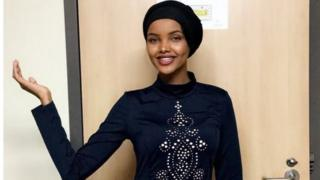 Halima Aden poses for a photo at St Cloud State University in St. Cloud, Minnesota.