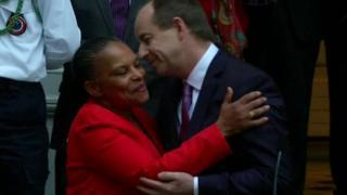 Ms Taubira embracing her successor