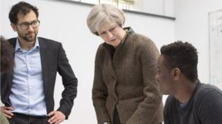Theresa May on school visit