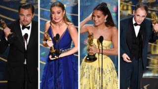 Leonardo DiCaprio, Brie Larson, Alicia Vikander, Mark Rylance at the 2016 Oscars