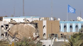 A portion of the destroyed UN headquarters at the Canal hotel is shown August 19, 2003 in Baghdad, Iraq. A huge truck bomb ripped through the building killing at least 15 and wounding dozens.