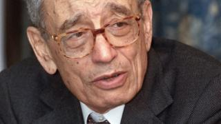 Secretary General of the International Organization of French-Speaking Communities (OIF) Boutros Boutros-Ghali looks on during an interview with AFP 24 February 2001 in Beirut.