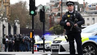 Armed police at Westminster attack scene