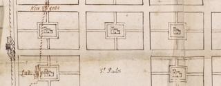 Richard Newcourt's plan for rebuilding the City of London 1666 (detail)