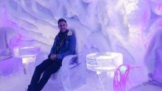 Johnny Ward celebrated reaching his final destination at an ice bar in Norway