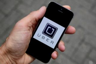 The Uber app logo pictured on a mobile phone in October, 2016
