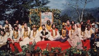 The Beatles and their wives at the Rishikesh in India with the Maharishi Mahesh Yogi, March 1968
