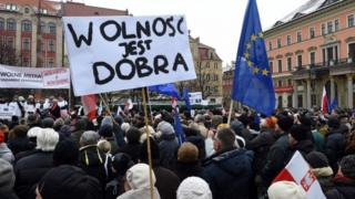 Protesters in Wroclaw