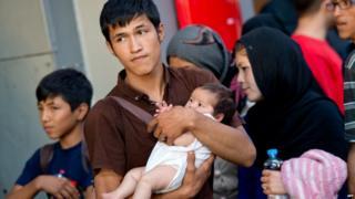An Afghan family reaches Munich station (31 August)