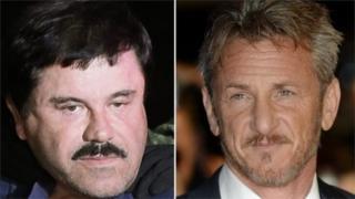 "Drug lord Joaquin ""El Chapo"" Guzman and Sean Penn, 10 January 2016"