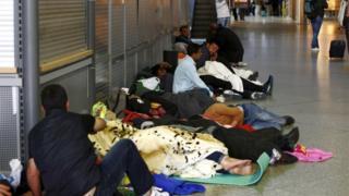 Migrants sleeping in Munich rail station, 13 September 2015