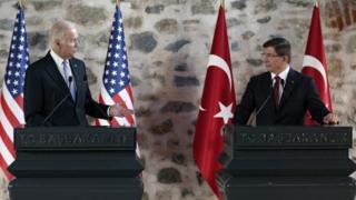 Joe Biden and Ahmet Davutoglu