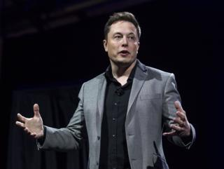 Tesla Motors CEO Elon Musk unveils the company's newest products, in Hawthorne, California; 30 April 2015