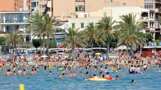 British holiday-makers in Spain
