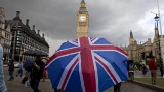 Man holding umbrella in Parliament Square