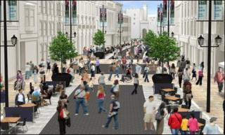 An artist's impression of the pedestrian-friendly streets