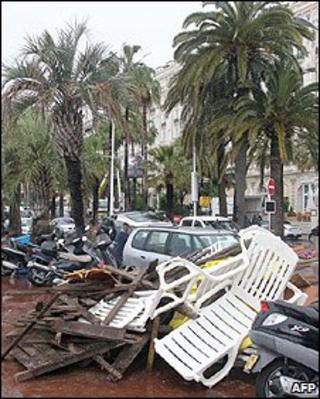 Storm damage in Cannes