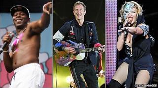 Left-right: Dizzee Rascal, Coldplay's Chris Martin, Kylie Minogue