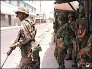 Soldiers on the streets of Kingston