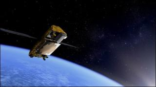 An artist's impression of an Iridium Next satellite in orbit