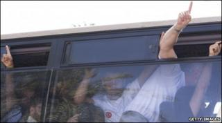 Freed pro-Palestinian activists arrive by coach at Ben Gurion airport to be deported, 2 June