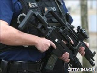 An armed policeman
