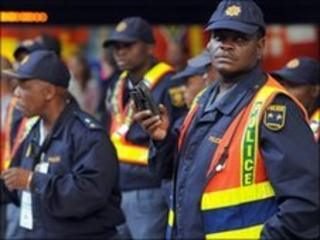 South African police on patrol