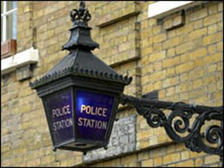 Police lamp outside police station