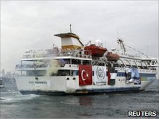 The Mavi Marmara leaving Istanbul, bound for Gaza (22 May 2010)
